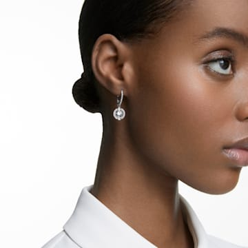 Swarovski Sparkling Dance 穿孔耳環, 球形切割, 白色, 鍍白金色 - Swarovski, 5504652