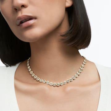 Angelic 项链, 圆形切割, 白色, 镀金色调 - Swarovski, 5505468