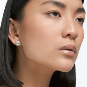 Angelic 耳钉, 圆形切割, 白色, 镀金色调 - Swarovski, 5505470