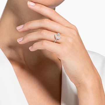 Penélope Cruz Moonsun Open Ring, White, Rhodium plated - Swarovski, 5508441