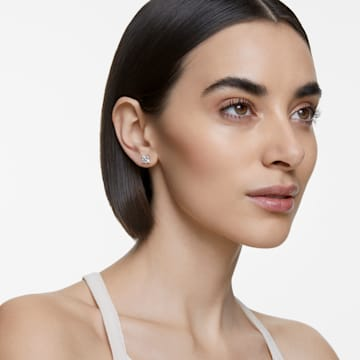 Attract 穿孔耳環, 白色, 鍍白金色 - Swarovski, 5509936