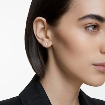 Attract 耳钉, 圆形切割, 白色, 镀铑 - Swarovski, 5509937