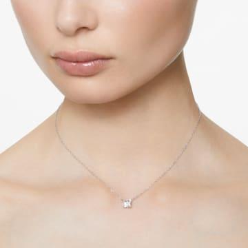 Attract 項鏈, 正方形切割, 白色, 鍍白金色 - Swarovski, 5510696