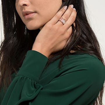 Precisely Motif Ring, White, Rose-gold tone plated - Swarovski, 5511398
