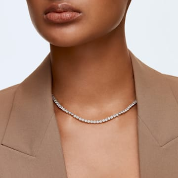 Tennis Deluxe 项链, 圆形切割, 白色, 镀金色调 - Swarovski, 5511545