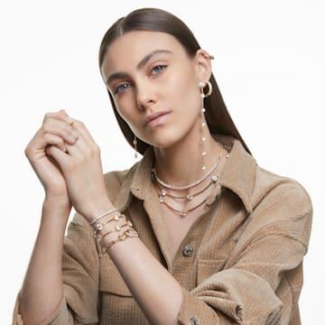Tennis Deluxe Halskette, Rund, Weiss, Goldlegierung - Swarovski, 5511545