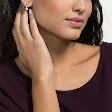 Attract 水滴形穿色耳環, 白色, 鍍白金色 - Swarovski, 5512393