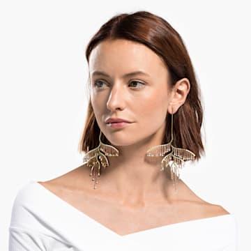 Tropical Leaf 穿孔耳環, 深色漸變, 多種金屬潤飾 - Swarovski, 5512463
