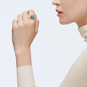 Attract Cocktail Ring, Green, Rhodium plated - Swarovski, 5512574
