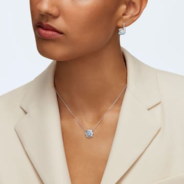 Swarovski Iconic Swan 穿孔耳环, 天鹅, 蓝色, 镀铑 - Swarovski, 5512577