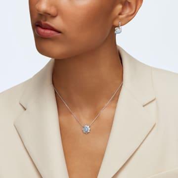 Swarovski Iconic Swan 穿孔耳環, 天鵝, 藍色, 鍍白金色 - Swarovski, 5512577