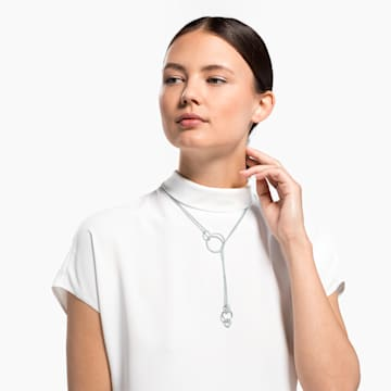 Stone Necklace, White, Rhodium plated - Swarovski, 5512604