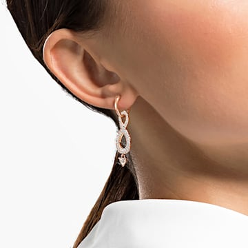 Brincos para orelhas furadas Swarovski Infinity, brancos, banhados com tom rosa dourado - Swarovski, 5512625