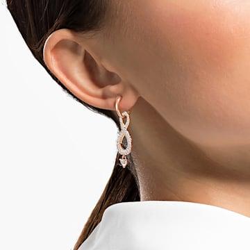 Swarovski Infinity 穿孔耳環, Infinity, 白色, 鍍玫瑰金色調 - Swarovski, 5512625