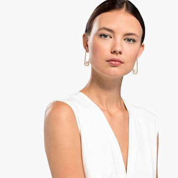So Cool Pearl 穿孔耳环, 白色, 镀金色调 - Swarovski, 5512736