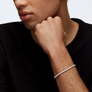 Tennis Deluxe Armband, weiss, Rosé vergoldet - Swarovski, 5513400