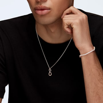 Tennis Deluxe bracelet, Round, White, Rose-gold tone plated - Swarovski, 5513400