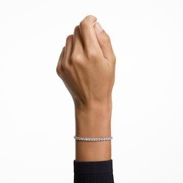 Tennis Deluxe-armband, Wit, Rodium-verguld - Swarovski, 5513401