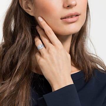 Penélope Cruz Moonsun Ring Set, White, Rhodium plated - Swarovski, 5513973