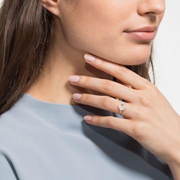 Otwarty pierścionek Moonsun, biały, powlekany rodem - Swarovski, 5513982