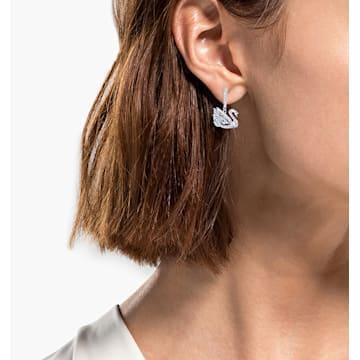 Dancing Swan fülbevalók, Hattyú, Fehér, Ródium bevonattal - Swarovski, 5514420