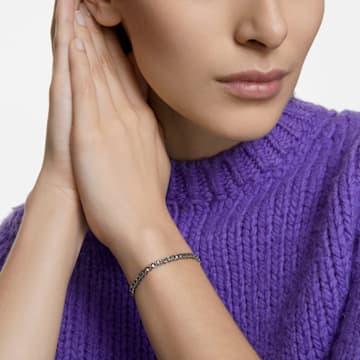 Tennis Deluxe 手链, 圆形切割, 灰色, 镀钌 - Swarovski, 5514655