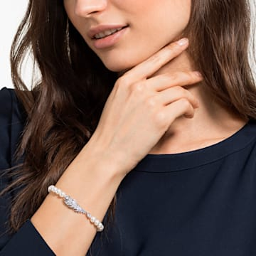 Nice Pearl 手鏈, 白色, 鍍白金色 - Swarovski, 5515034