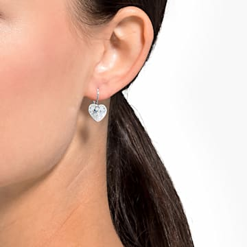 Bella Heart 穿孔耳環, 白色, 鍍白金色 - Swarovski, 5515191