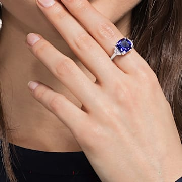 Pierścionek koktajlowy Attract, niebieski, powlekany rodem - Swarovski, 5515711