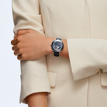 Octea Lux 手錶, 月亮, 真皮錶帶, 藍色, 不銹鋼 - Swarovski, 5516305