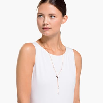 Latisha Y形項鏈, 黑色, 鍍玫瑰金色調 - Swarovski, 5516428
