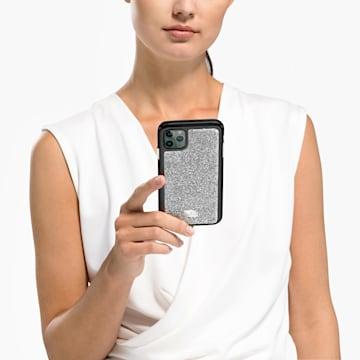 Coque rigide pour smartphone avec cadre amortisseur Glam Rock, iPhone® 11 Pro, ton argenté - Swarovski, 5516873