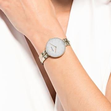 Orologio Cosmopolitan, bracciale di metallo, bianco, PVD tonalità oro champagne - Swarovski, 5517794