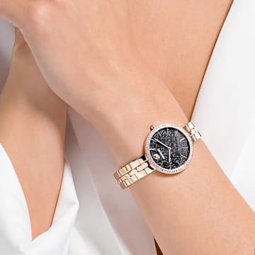 Relógio Cosmopolitan, pulseira em metal, preto, PVD rosa dourado - Swarovski, 5517797
