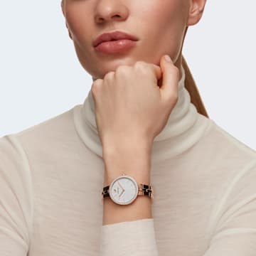 Cosmopolitan-horloge, Metalen armband, Wit, Roségoudkleurig PVD - Swarovski, 5517803