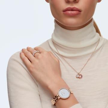 Zegarek Cosmopolitan, bransoleta z metalu, biały, powłoka PVD w odcieniu różowego złota - Swarovski, 5517803