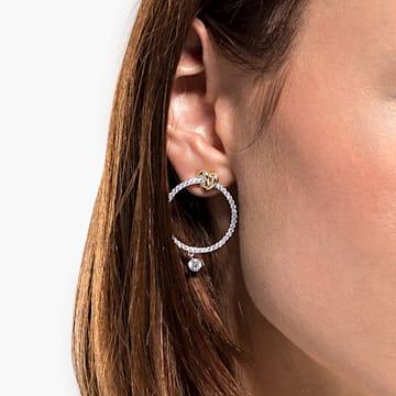 Argolas para orelhas furadas Lifelong Heart, brancas, acabamento em vários metais - Swarovski, 5517933