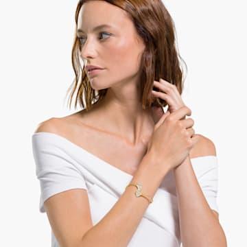 Bracciale rigido Stunning Ginko, bianco, placcato color oro - Swarovski, 5518170