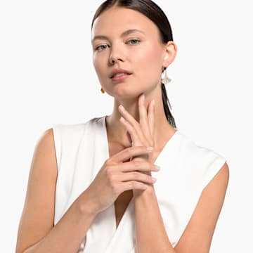 Cercei cu șurub Stunning Gingko, albi, placați în nuanță aurie - Swarovski, 5518176