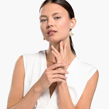Náušnice Stunning Gingko, bílé, pozlacené - Swarovski, 5518176