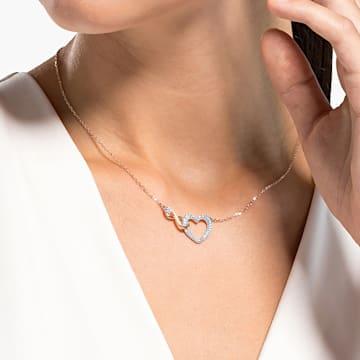 Collar Swarovski Infinity Heart, blanco, combinación de acabados metálicos - Swarovski, 5518865
