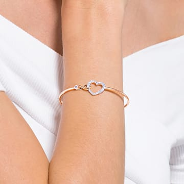 Swarovski Infinity bangle, Infinity and heart, White, Mixed metal finish - Swarovski, 5518869