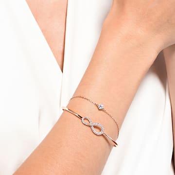 Brazalete Swarovski Infinity, blanco, baño tono oro rosa - Swarovski, 5518871