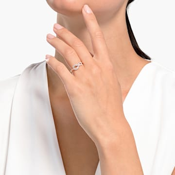 Swarovski Infinity Ring, White, Rose-gold tone plated - Swarovski, 5518873