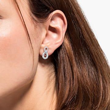 Swarovski Infinity 穿孔耳環, Infinity, 白色, 鍍白金色 - Swarovski, 5518880