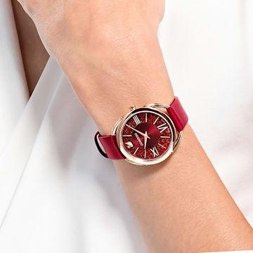 Hodinky Crystalline Glam s koženým páskem, červené, PVD v odstínu růžového zlata - Swarovski, 5519219