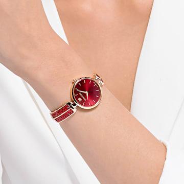 Dream Rock Часы, Металлический браслет, Красный Кристалл, PVD-покрытие оттенка розового золота - Swarovski, 5519312