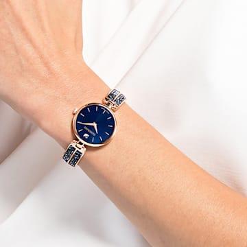 Montre Dream Rock, bracelet en métal, bleu, PVD doré rose - Swarovski, 5519317