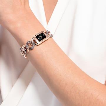 Orologio Cocktail, Bracciale di metallo, Nero, Placcato color oro Rosa - Swarovski, 5519324