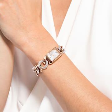 Montre Cocktail, Bracelet en métal, Ton or rose, PVD doré rose - Swarovski, 5519327